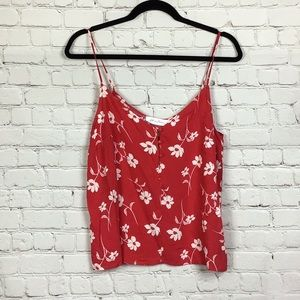All in Favor Red Floral cropped tank top. S
